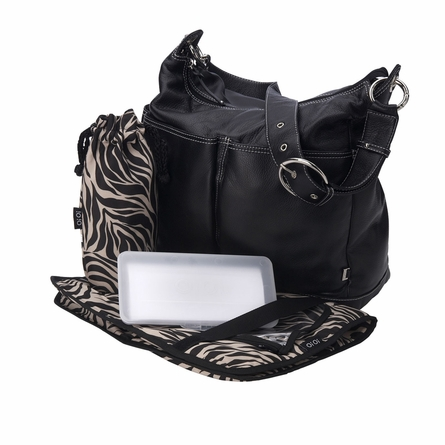 Black Leather Hobo Diaper Bag with Zebra Print Lining