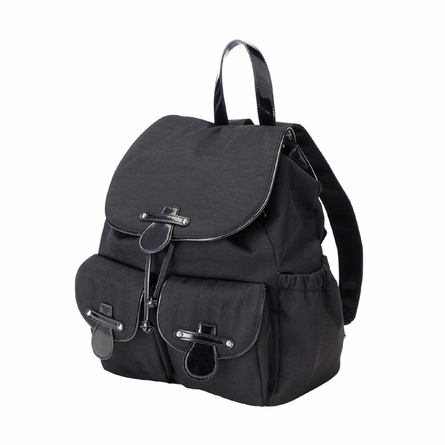 On Sale Black Nylon with Patent Trim Backpack
