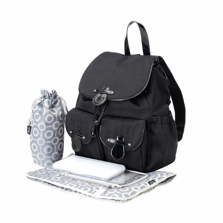 Black Nylon with Patent Trim Backpack