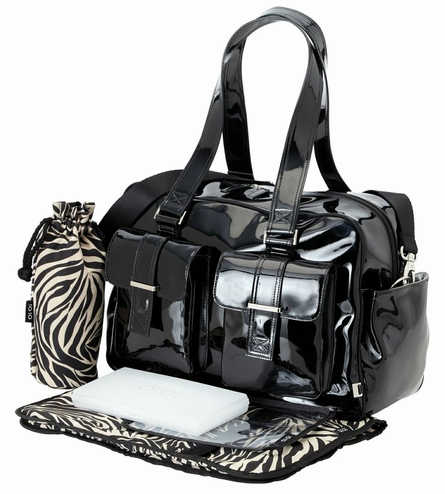 Black Patent Carry All Diaper Bag