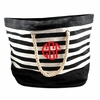 Black Striped Monogram Beach Tote