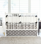 Black Swiss Cross Crib Bedding Set