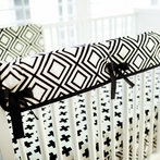 Black Swiss Cross Crib Rail Cover