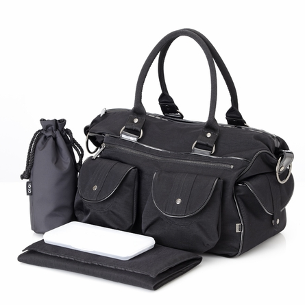Black Wash with Patent Trim Carry All Diaper Bag