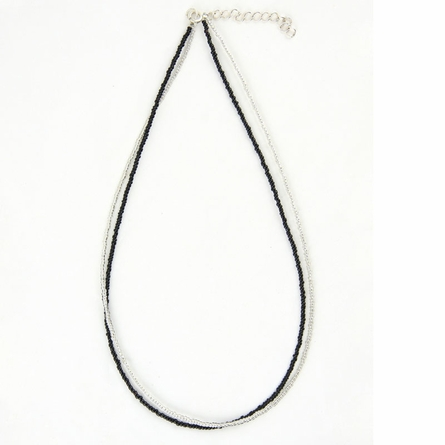 Black & White Seed Bead Necklace