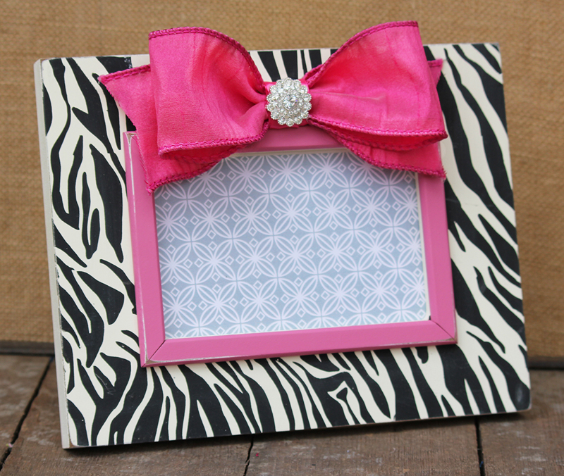 black zebra print picture frame by smile for the birdie