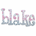 Blake Pink and Gray Hand Painted Wall Letters