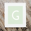 Block Initial Striped Personalized Art Print