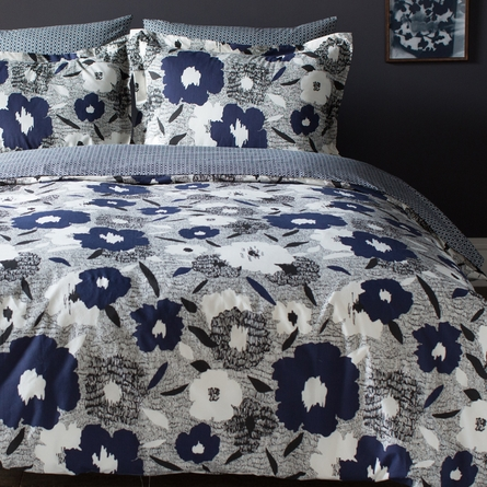 Block Print Floral Indigo Sheet Set