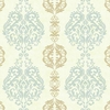 Blue and Beige Damask Stripe Wallpaper