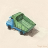 Blue And Green Dump Truck Canvas Wall Art