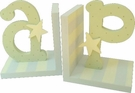 Blue and Green Initial Bookends