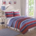 Blue and Red Sebas Stripe Quilt with Pillow Sham