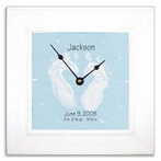 Blue Baby Feet Wall Clock with Wide Frame