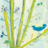 Blue Bird Left Small Vintage Art Print on Wood