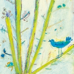 Blue Bird Left Vintage Art Print on Wood