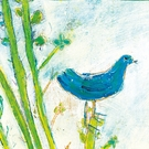Blue Bird Right Small Vintage Art Print on Wood