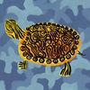Blue Camo Turtle Canvas Wall Art