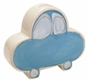 Blue Car on White Coin Bank