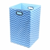 Blue Chevron Canvas Laundry Bin