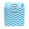 Blue Chevron Canvas Storage Bin