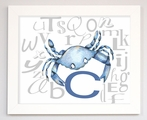 Blue Crab Alphabet Framed Canvas Reproduction