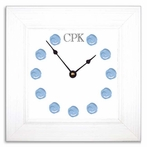 Blue Dot Wall Clock with Wide Frame