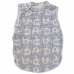 Blue Elephant Muslin Reversible Sleep Sack