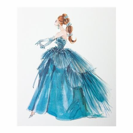 Blue Evening Gown Framed Couture Barbie Art Print