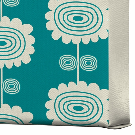 Blue Flowers Wrapped Canvas Art