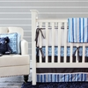 Blue & Gray Damask Crib Bedding Set