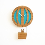 Blue Hot Air Balloon Wall Clock