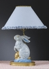 Blue Lace and Dot Cabbage Bunny Lamp