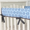 Blue Luxe Damask Crib Rail Cover