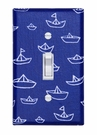 Blue Mini Boats Light Switch Plate Cover