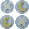 Blue Moon and Star Drawer Knobs - Set of 4