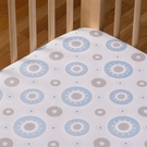 Blue Orbit Cotton Poplin Fitted Crib Sheet