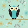 Blue Owl on a Branch Canvas Wall Art