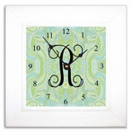 Blue Paisley Wall Clock with Wide Frame