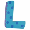 Blue Polka Dot Wall Letter - L