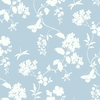 Blue Scenic Vines Floral Wallpaper