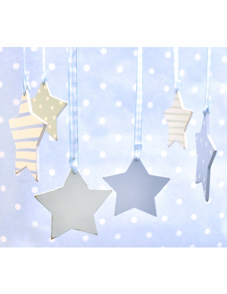 Blue Stars Wooden Mobile
