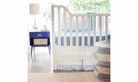 Blue Stone Zig Zag Crib Sheet