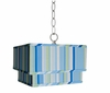 Blue Stripe Double Square Pendant