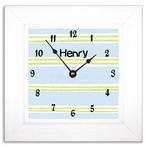 Blue Stripe Wall Clock with Wide Frame