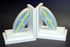 Blue Surfboard Bookends with White Base