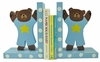 Blue Teddy Bear Wooden Bookends