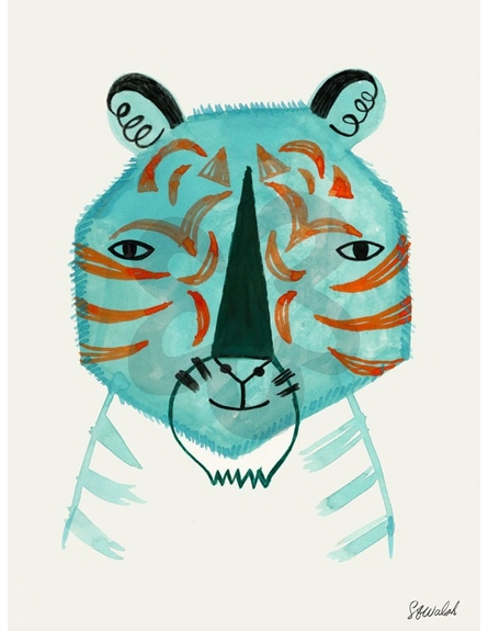 Blue Tiger Canvas Wall Art