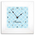 Blue Trellis Wall Clock in Wide Frame