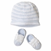 Blue & White Crocheted Hat and Bootie Set